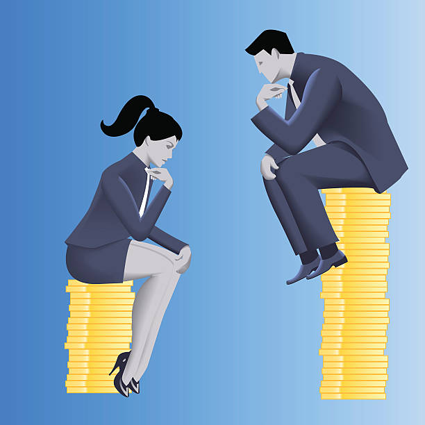 Gender inequality on payment business concept vector art illustration