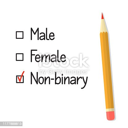 Check boxes with three gender options, red tick and pencil. Non binary gender identity concept