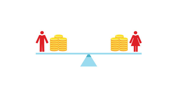 Gender pay equality Vector image of a man and woman balancing on scales with coins wages stock illustrations
