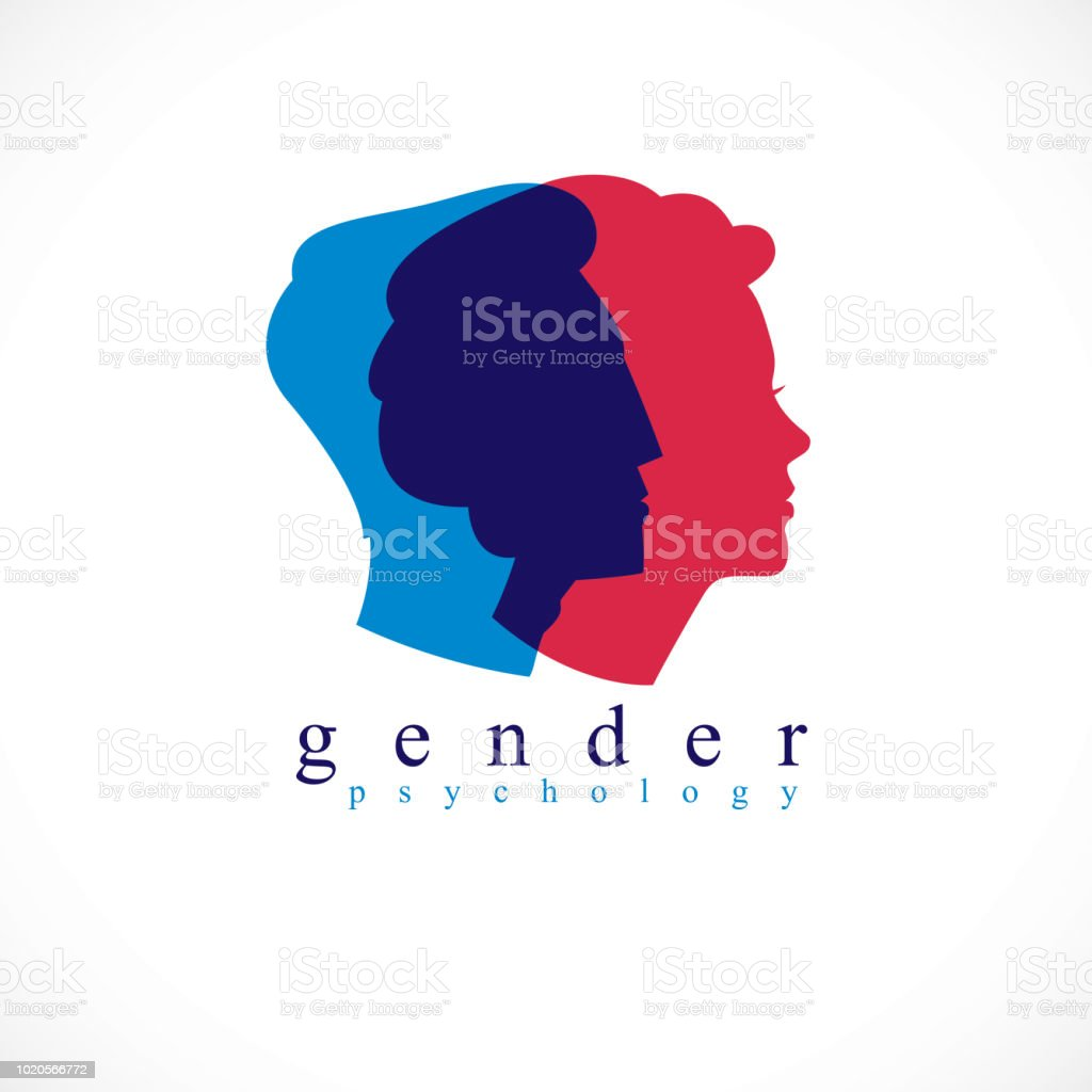 Gender psychology concept created with man and woman heads profiles, vector symbol of relationship problems and conflicts in family, close relations and society. Classic style simple design.