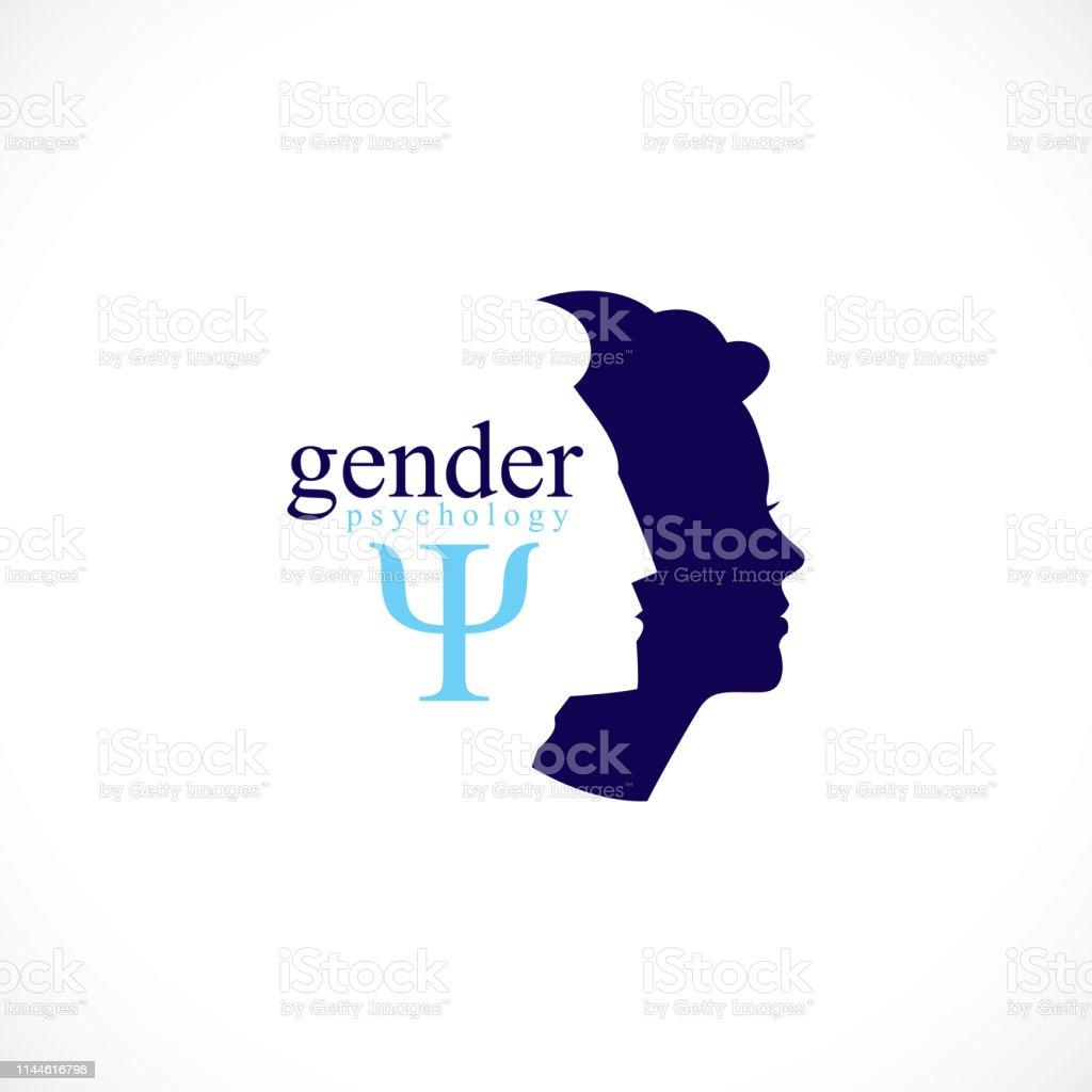 Gender psychology concept created with man and woman heads profiles,...