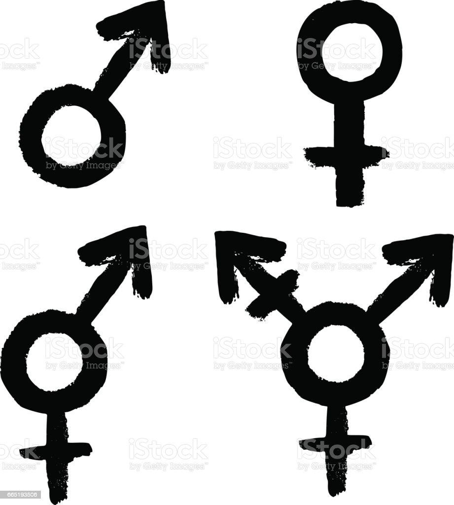 Gender Related Icon Set Female Male Lgbt Transgender Intersex