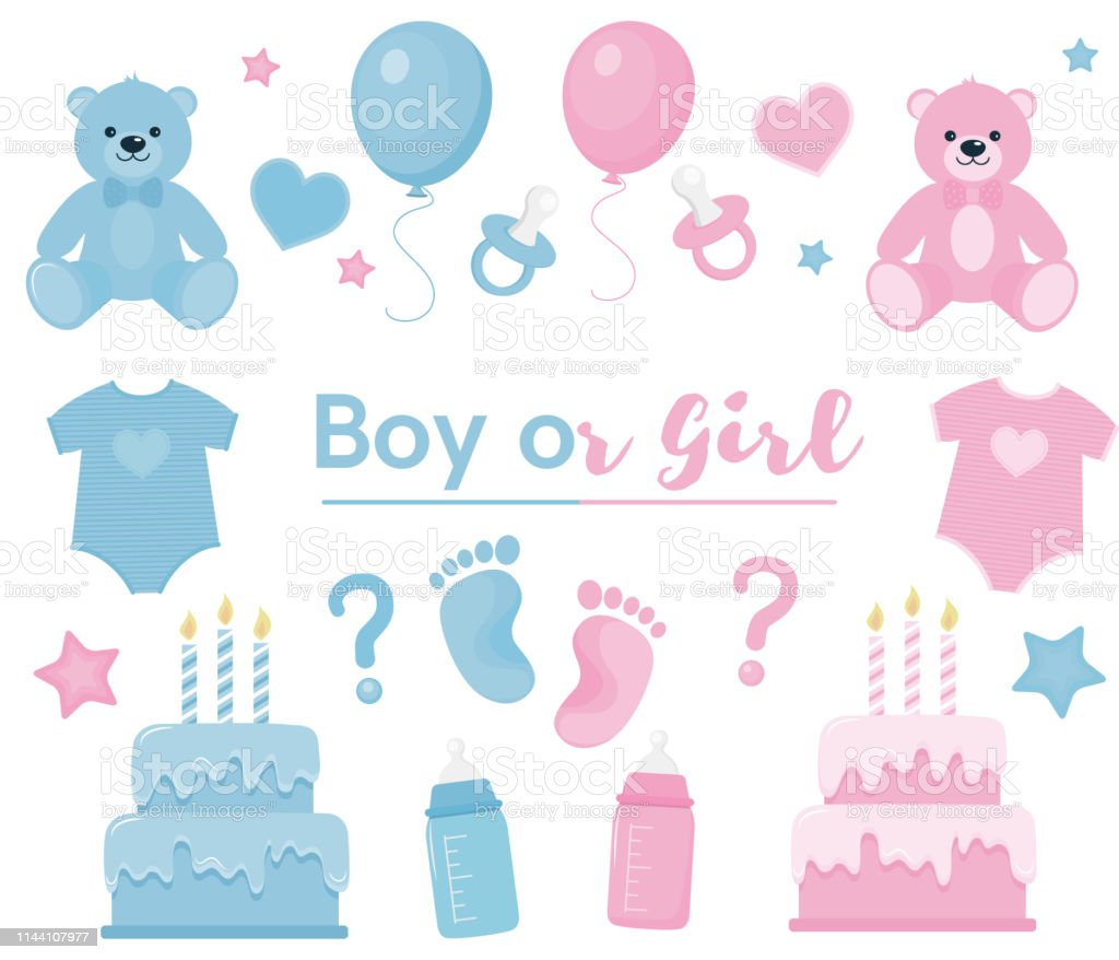 Download Gender Reveal Clipart Blue And Pink Colors Stock ...