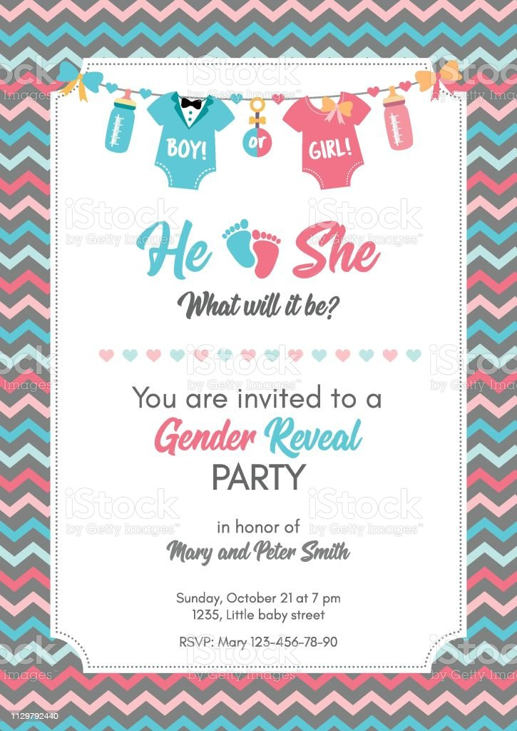 Gender Reveal Invitation Template Baby Shower Party Stock