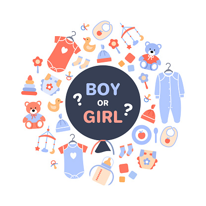 Gender reveal party. Flat black balloon with text boy or girl on white baby background with toy newborn clothing diaper. Circle concept design for banner flyer invitation card Cute vector illustration