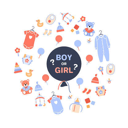 Gender reveal party. Flat black balloon with text boy or girl on white baby background with toy newborn icons clothing diaper. Circle concept design for banner invitation card vector illustration.