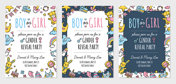 Gender reveal party invitation template, boy girl