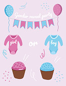 Gender Reveal Party set. Bodysuit, balloons and cupcakes.Hand drawn set