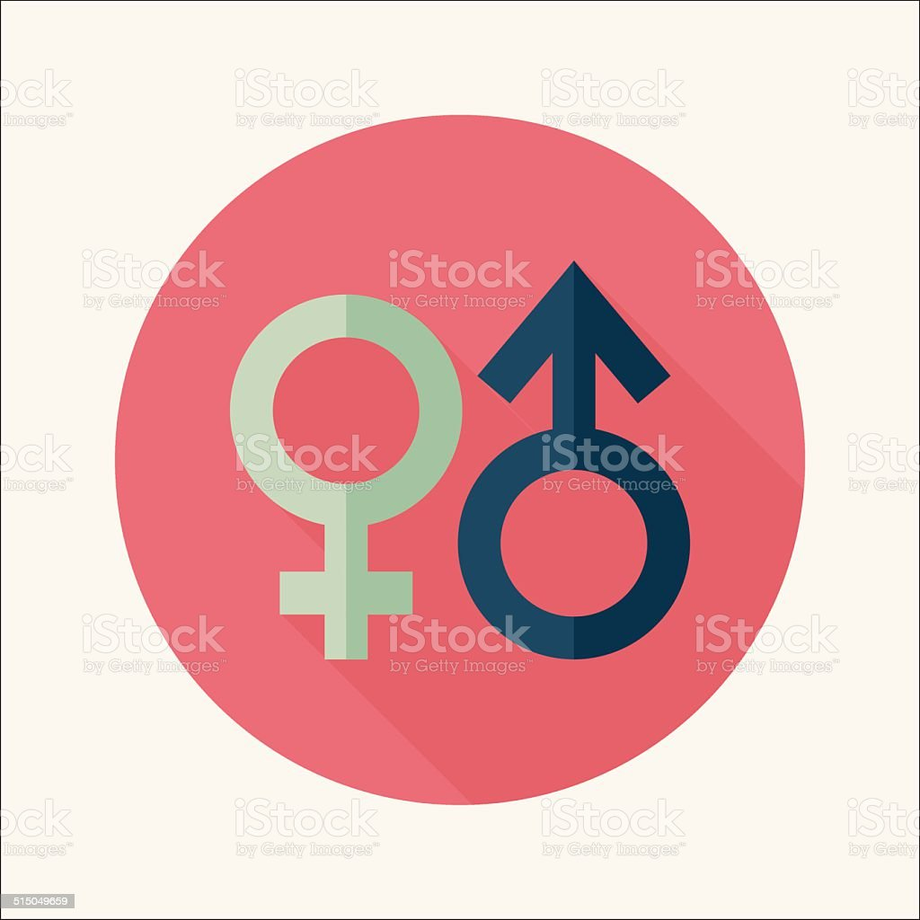 Gender symbol flat icon with long shadow vector art illustration