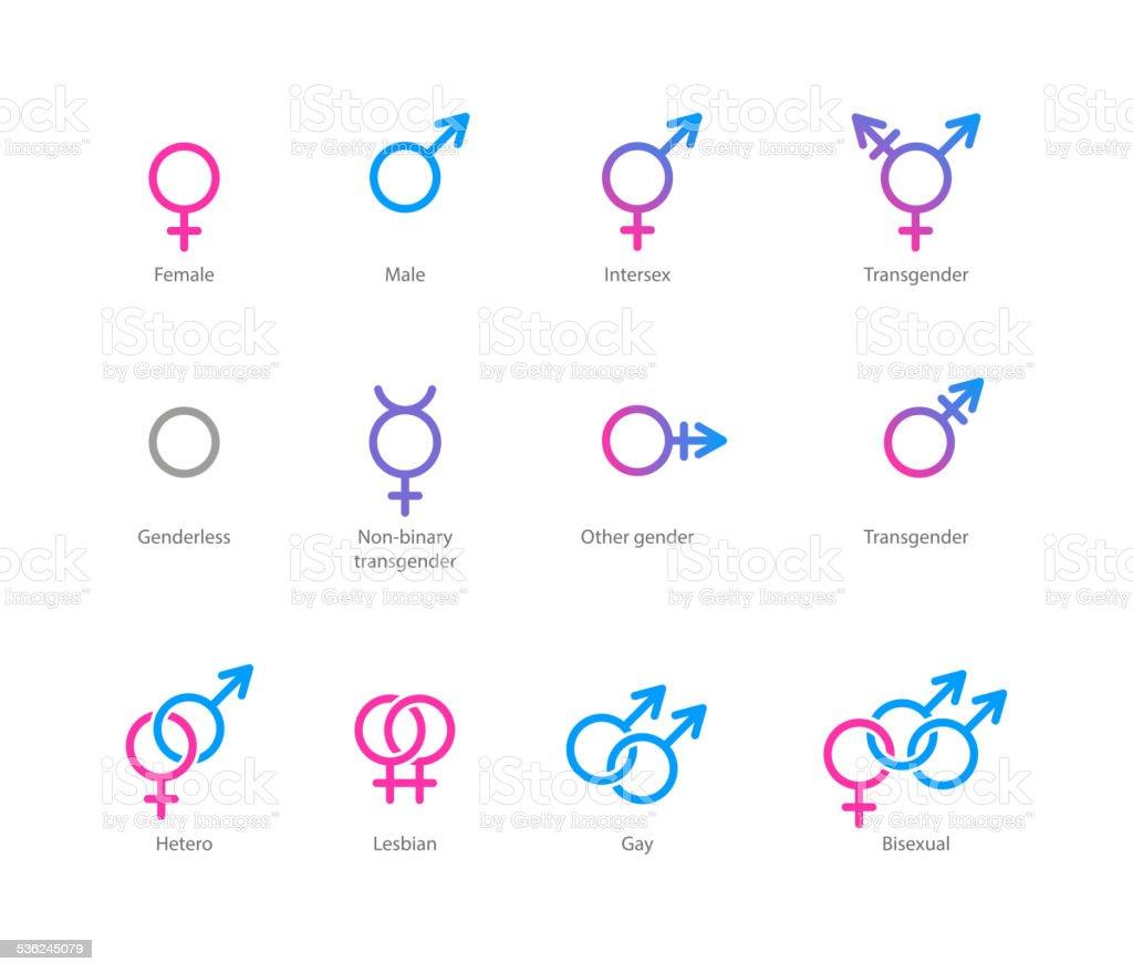Gender symbol icon set vector art illustration