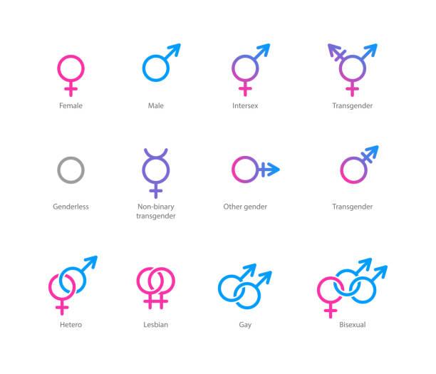 ilustrações, clipart, desenhos animados e ícones de símbolo de sexo conjunto de ícones - casais do mesmo sexo