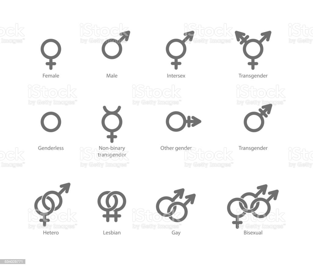 Gender symbol icons vector art illustration