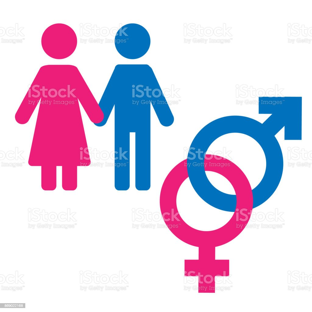 Gender Symbol Set Male Female Girl Boy Woman Man Icon Stock Vector