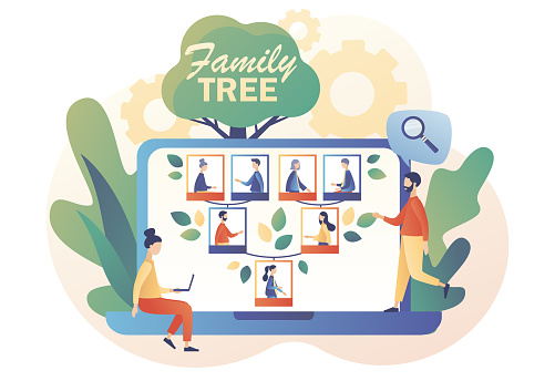Genealogy online. Family tree on web site. Tiny people: grandparents, parents, children. Pedigree. Example of relatives connection data. Modern flat cartoon style. Vector illustration