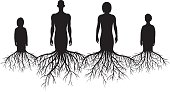 Each of the four people with roots is separate and on a separate layer so they are easy to split up if needed.