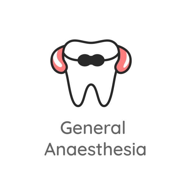 General Anesthesia. Tooth with the travel pillow and the eye sleep mask. Dental icon or illustration. General Anesthesia. Tooth with the neck support travel pillow and the eye sleep mask. Dental icon. Web pictogram for dentistry. Stomatology concept, logo or illustration. tranquilizing stock illustrations