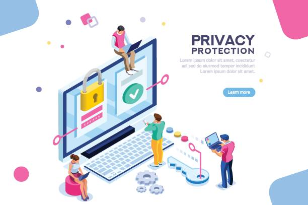 General Data Protection Banner Infographic, banner with hero protect data and confidentiality. Safety and confidential data protection, concept with character saving code and check access. Flat isometric vector illustration. confidential stock illustrations