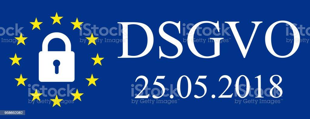 General Data Protection Regulation Eu Flag In German Datenschutz