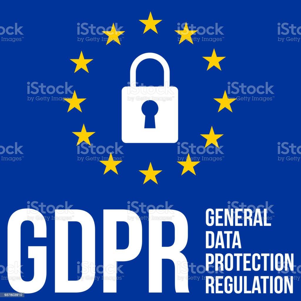 GDPR - General Data Protection Regulation, eu flag stylized vector vector art illustration