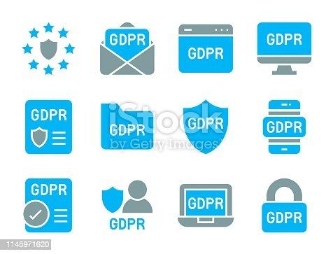 GDPR General Data Protection Regulation icon set, flat design