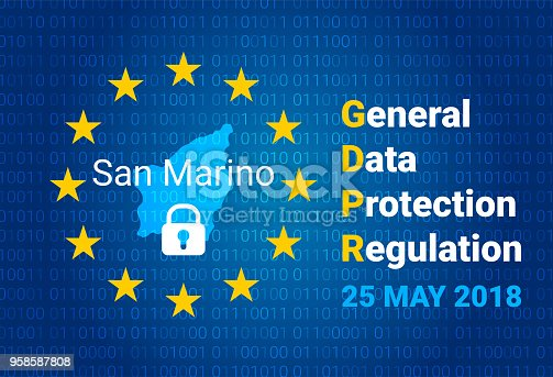 istock GDPR - General Data Protection Regulation. Map of San Marino, EU flag. vector 958587808
