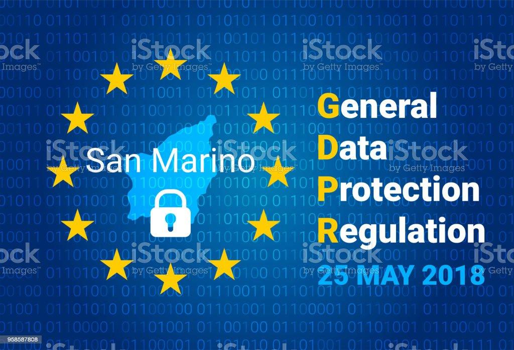 GDPR - General Data Protection Regulation. Map of San Marino, EU flag. vector vector art illustration