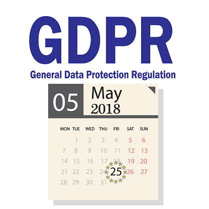 Gdpr General Data Protection Regulation Of 25 May 2018 The Date On The Calendar Marked Stock Illustration - Download Image Now