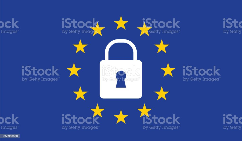 General Data Protection Regulation (GDPR) padlock vector art illustration