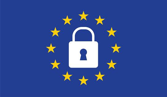 General Data Protection Regulation Padlock - Immagini vettoriali stock e altre immagini di Affari