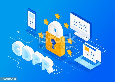 GDPR isometric concept. Protection of personal data. Vector illustration.