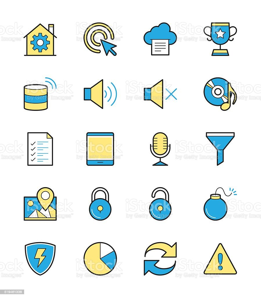 General icon set 3, Monochrome color - Vector Illustration
