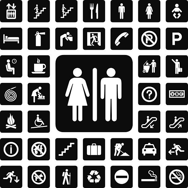 general icon general icon for every place bathroom symbols stock illustrations