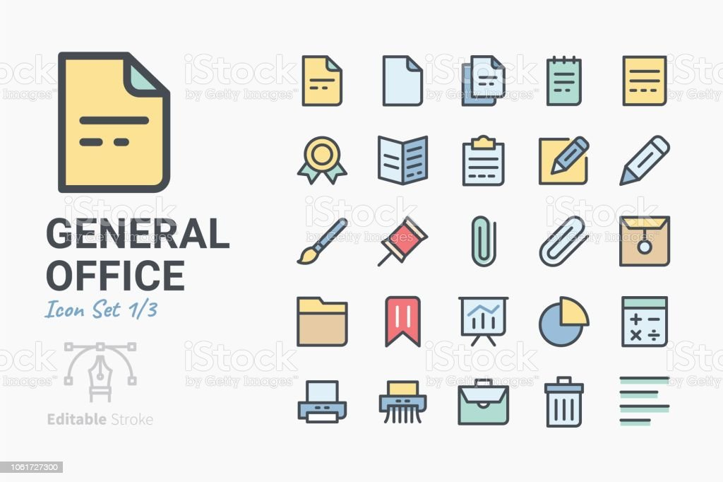 General Office icon set vector art illustration