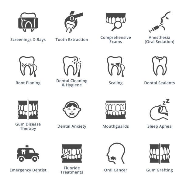 General & Preventive Dentistry Icons - Black Series This set contains dental icons (general and preventive dentistry), that can be used for designing and developing websites, as well as printed materials and presentations. tranquilizing stock illustrations