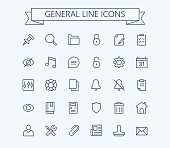 General vector icons set. Thin line outline 24x24 Grid.Pixel Perfect