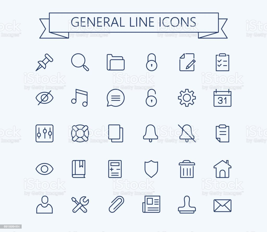 General vector icons set. Thin line outline 24x24 Grid.Pixel Perfect vector art illustration