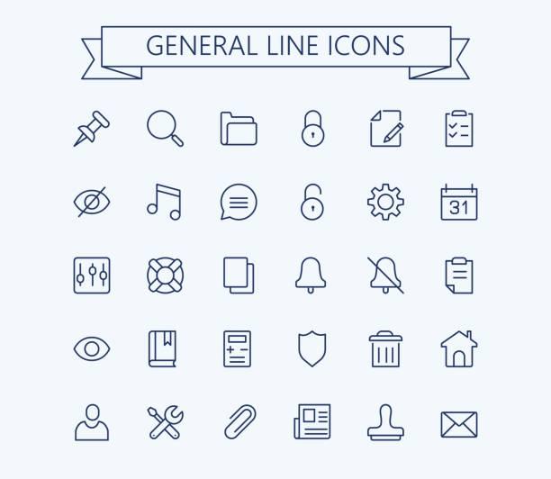 general vector icons set. thin line outline 24x24 grid.pixel perfect - otwarta przestrzeń ustawienia stock illustrations