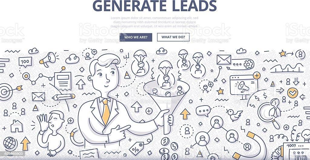 Generate Leads Doodle Concept vector art illustration