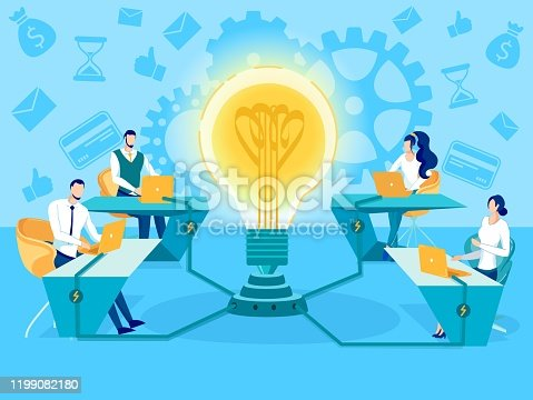 istock Generating New Business Ideas Flat Vector Concept 1199082180