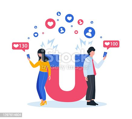 istock Generating new leads advertising strategy. Marketing magnet engaging followers. social media likes. 1297614604