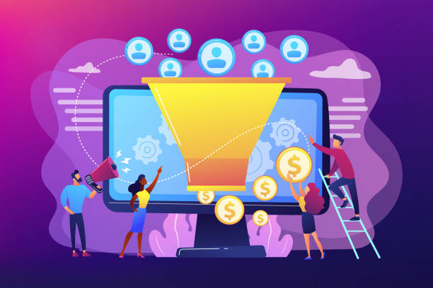 Generating new leads concept vector illustration Monetization tips. Increasing conversion rates strategy. Attracting followers. Generating new leads, identify your customers, SMM strategies concept. Bright vibrant violet vector isolated illustration digital marketing stock illustrations