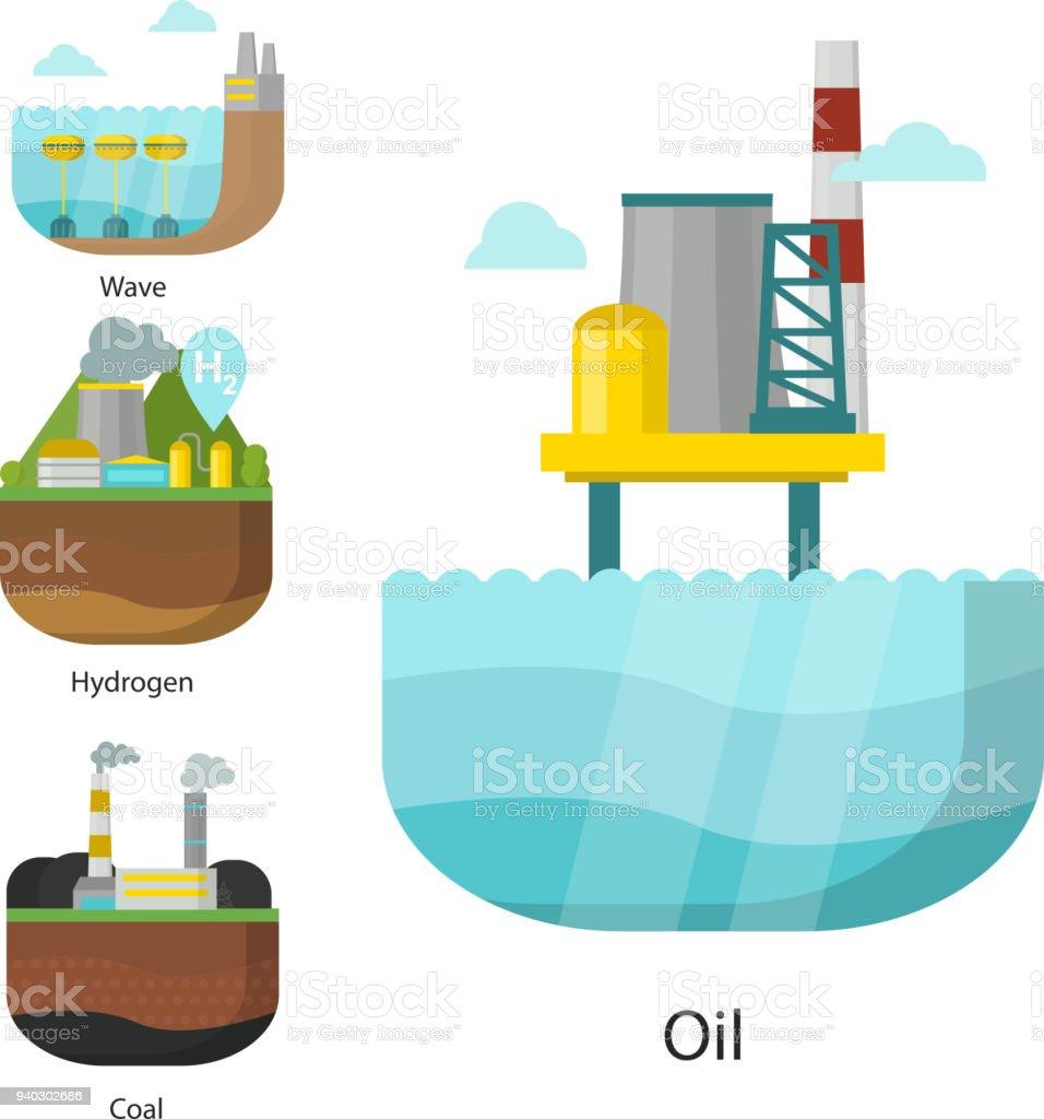 Ilustración de Tipos De Generación Energía Hidroeléctrica Vector ...