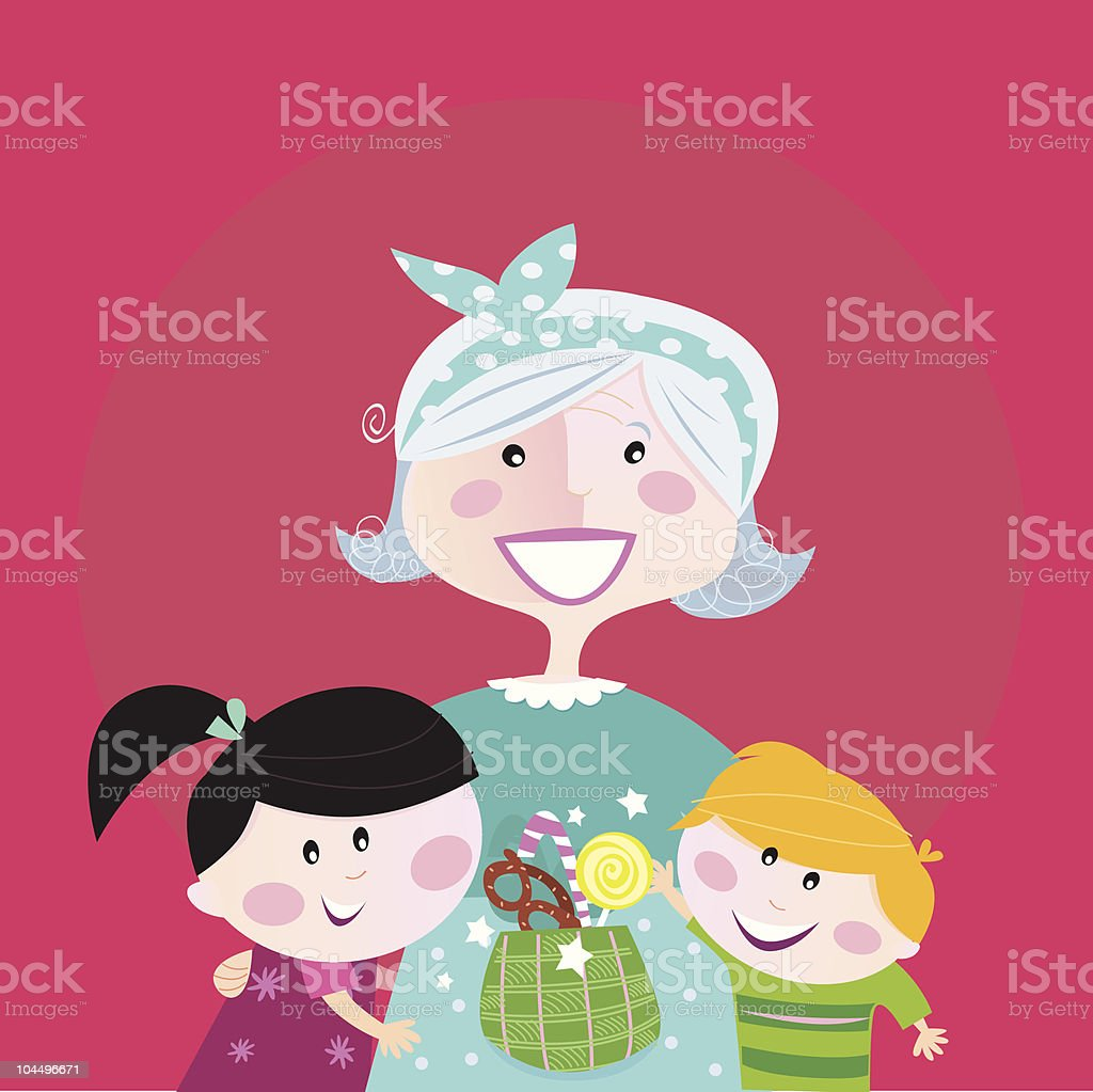 Generation family portrait: Grandmother with grandchildren royalty-free generation family portrait grandmother with grandchildren stock vector art & more images of 60-69 years