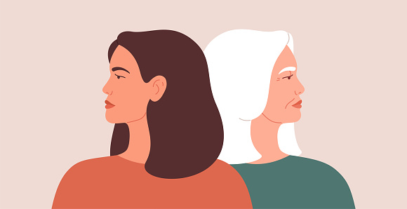 Generation gap concept. A young woman and mature female look away from each other during conflict or disagreement. Women have their backs on one another.