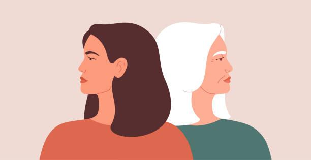 ilustraciones, imágenes clip art, dibujos animados e iconos de stock de concepto de brecha de generación. una mujer joven y una mujer madura se alejan unas de otras durante el conflicto o el desacuerdo. las mujeres se echan la espalda unas a las otras. - hija