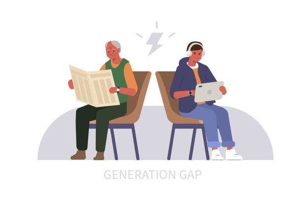 generation gap Elderly Man reading Newspaper, Teenage Boy using Tablet. Two People Characters Arguing. Baby Boomer and Millennial or Generation Z Conflict. Generation Gap Concept. Flat Cartoon Vector Illustration. baby boomers stock illustrations