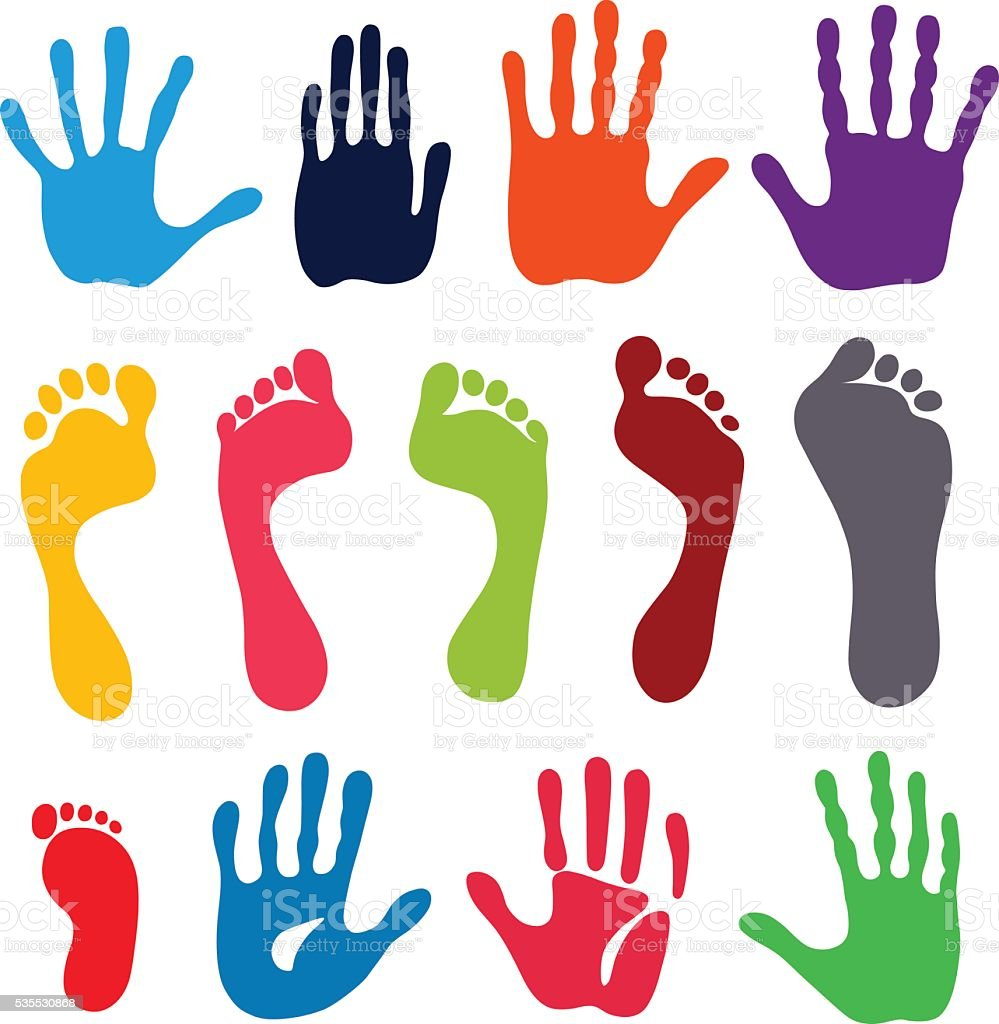 Generation hand and foot prints vector art illustration