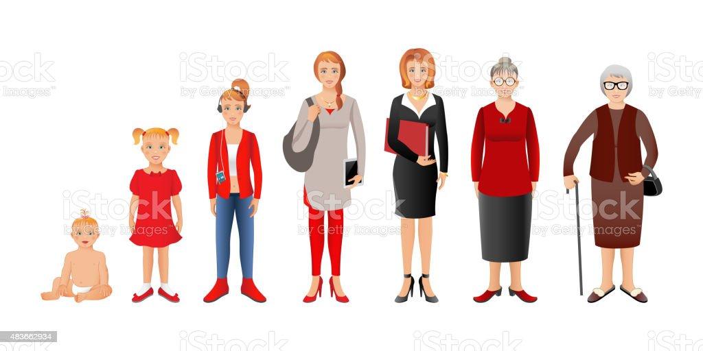 Generation Frau Von Babys Bis Zu Senioren Baby Kind Teenag Stock