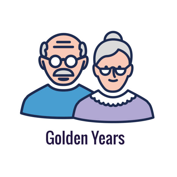 考慮事項を示す世代と退職アイコンセット - 退職 - 老夫婦点のイラスト素材/クリップアート素材/マンガ素材/アイコン素材
