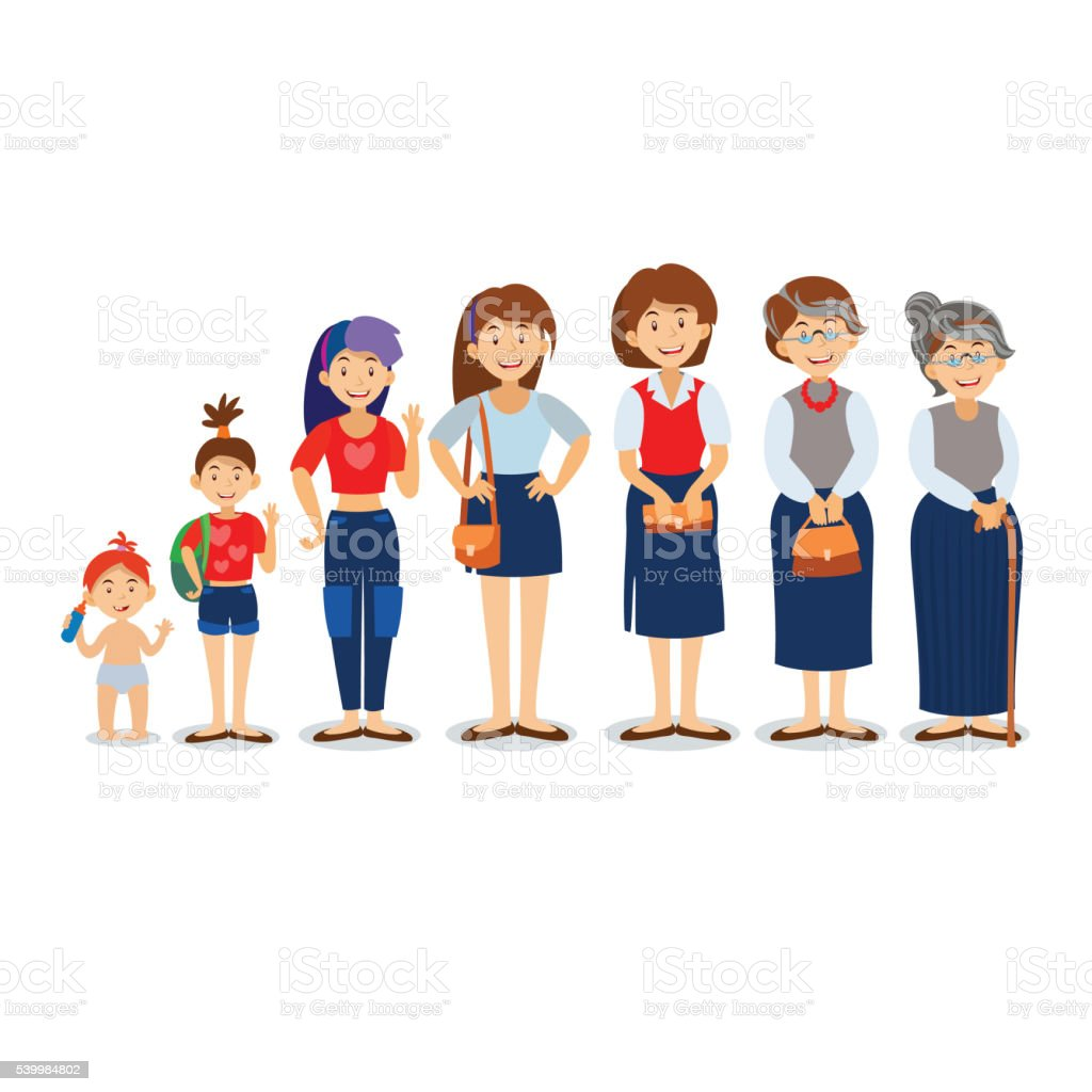 Generations woman. People generations at different ages. vector art illustration